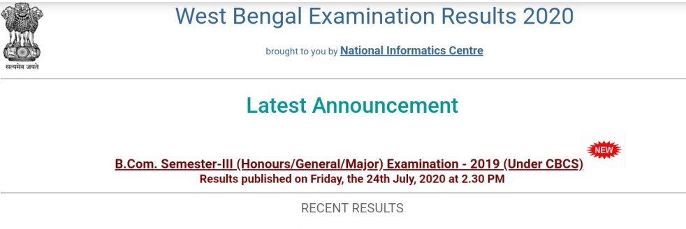 Calcutta University B.com 3rd Sem Result 2020